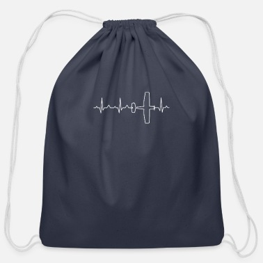 Heartbeat EKG Plane - Cotton Drawstring Bag