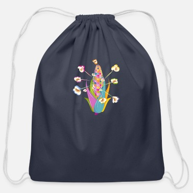 Piece colorful corncob and colorful popcorn - Cotton Drawstring Bag