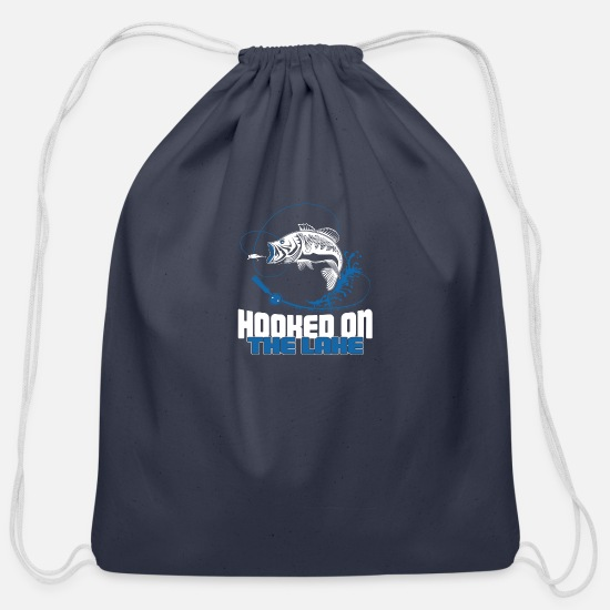 Bait Bags & Backpacks - Hooked on the Lake - Cotton Drawstring Bag navy
