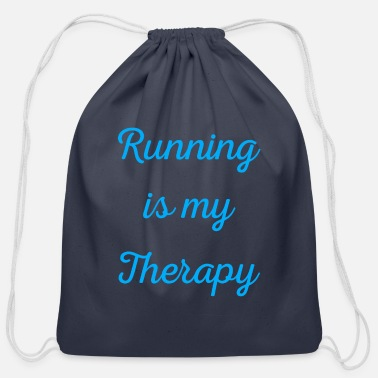 Sprinting Running is my therapy saying gift - Cotton Drawstring Bag