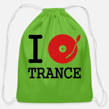 Love I dj / play / listen to trance - Cotton Drawstring Bag