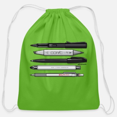 White Pro Pens (Grey) Rotring 600, Lamy, Koh-I-Noor, Pen - Cotton Drawstring Bag