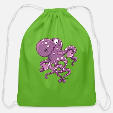 For Octopus Lovers Amorous Octopus - Cotton Drawstring Bag