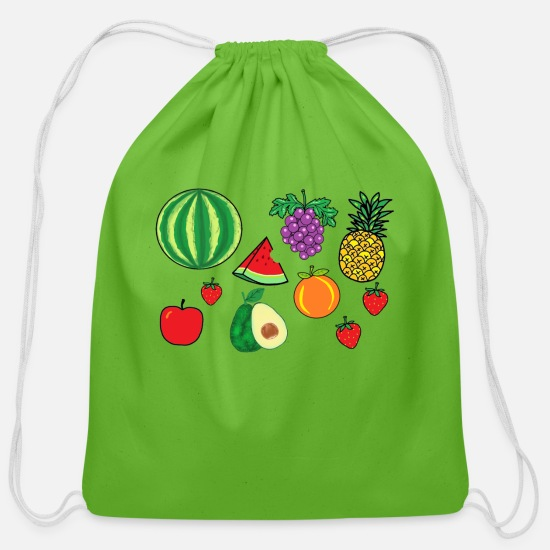 Fruit Bags & backpacks - Mixed fruit graphic art - Cotton Drawstring Bag clover