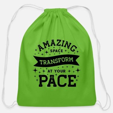 Amazing Space Transform At Your Pace. Yoga, Yogi - Cotton Drawstring Bag