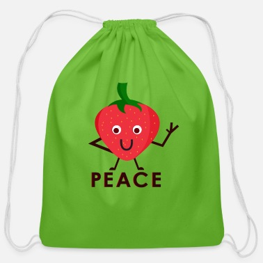 Strawberry Strawberry peace love fruit gift idea - Cotton Drawstring Bag