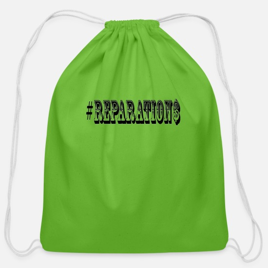 Black Bags & Backpacks - Reparations TShirt After 400 Years It's Time - Cotton Drawstring Bag clover