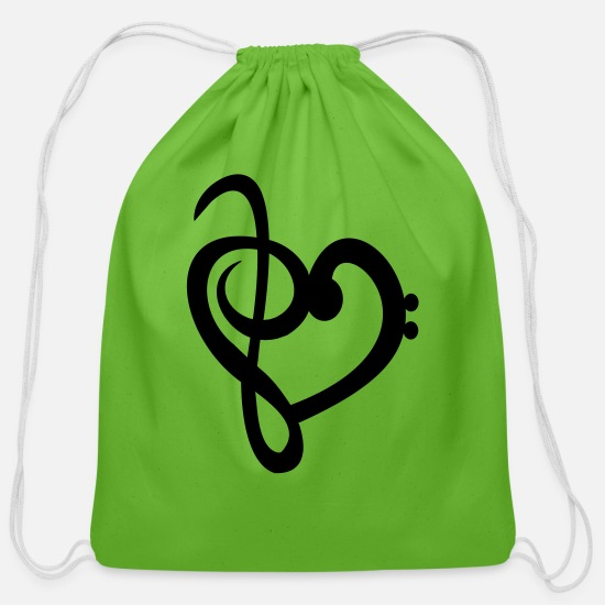 Parent Bags & Backpacks - Heart Treble Bass Clef - Cotton Drawstring Bag clover