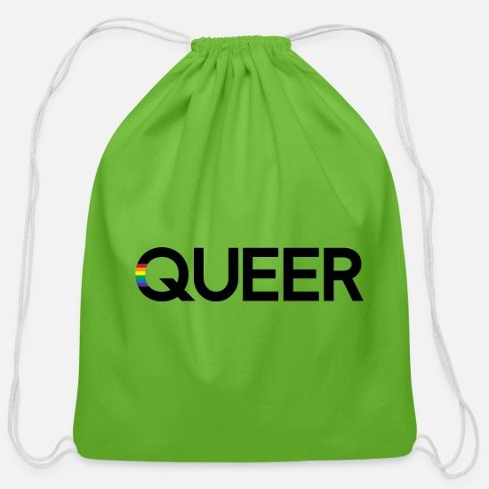 Gay Pride Bags & Backpacks - QUEER (black) - Cotton Drawstring Bag clover