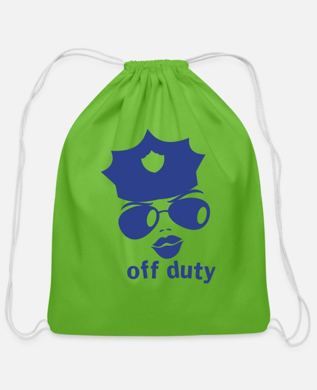 Enforcement Bags & Backpacks - off duty police woman face - Cotton Drawstring Bag clover