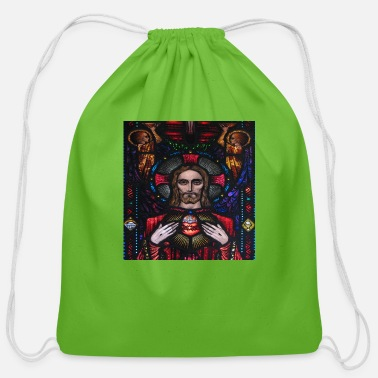 Sacred Heart Of Jesus Jesus Sacred Heart Stained Glass - Cotton Drawstring Bag