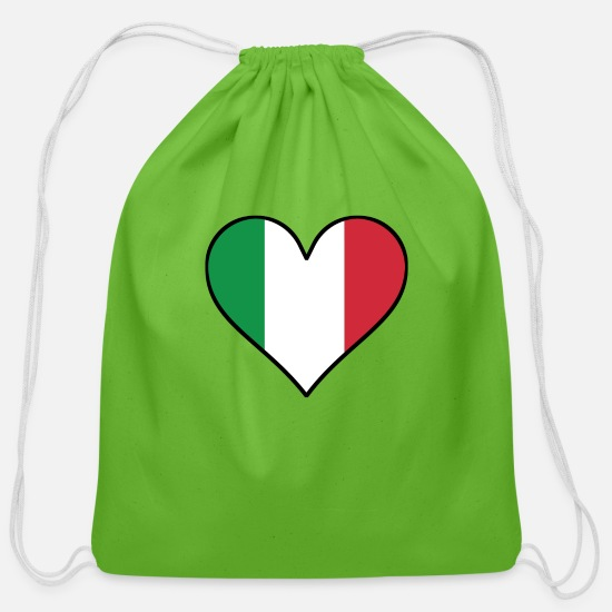 Flag Bags & Backpacks - Italian Flag Heart - Cotton Drawstring Bag clover