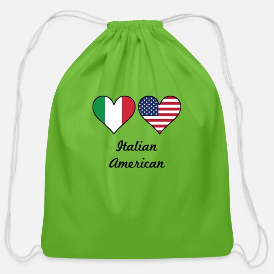 Italian Bags & Backpacks - Italian American Flag Hearts - Cotton Drawstring Bag clover