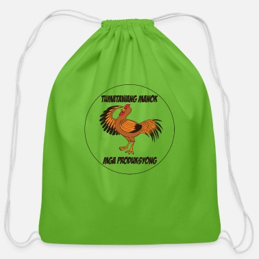Laughing laughing cock productions logo- in tagalog - Cotton Drawstring Bag