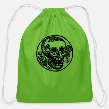 Skull Flower Flowered skull - Cotton Drawstring Bag