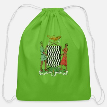 American With Zambian Roots Zambian Coat of Arms Zambia Symbol - Cotton Drawstring Bag