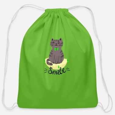 Collection Cat Cute Smile - Cotton Drawstring Bag