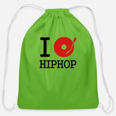 Hip I dj / play / listen to hiphop - Cotton Drawstring Bag