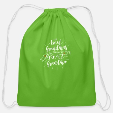 Grandma Announcement The Best Grandmas Get Promoted to Great Grandma Announcement - Cotton Drawstring Bag