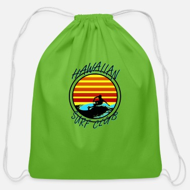 90s Surfing Hawaiian Surf Club - Cotton Drawstring Bag