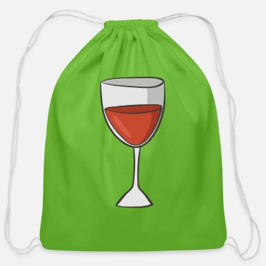 Red Wine red wine - Cotton Drawstring Bag