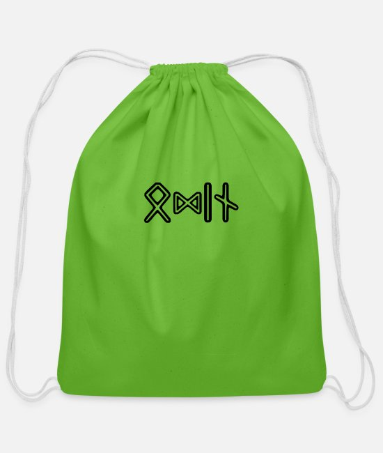 Asatru Bags & Backpacks - Viking Design - Odin in Runes - Cotton Drawstring Bag clover