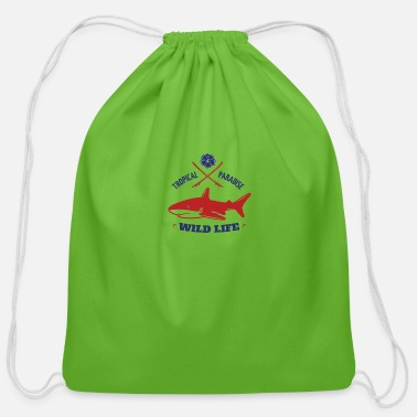 tropical paradise with shark - Cotton Drawstring Bag