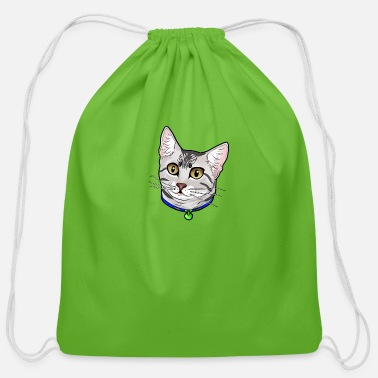 egytpian cat - Cotton Drawstring Bag