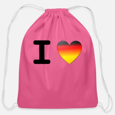 I Love I Love Germany | I Love Deutschland - Cotton Drawstring Bag