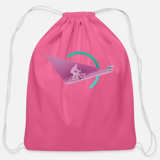 Cyclist Bags & Backpacks - Cyclist And Butterfly - Cotton Drawstring Bag pink