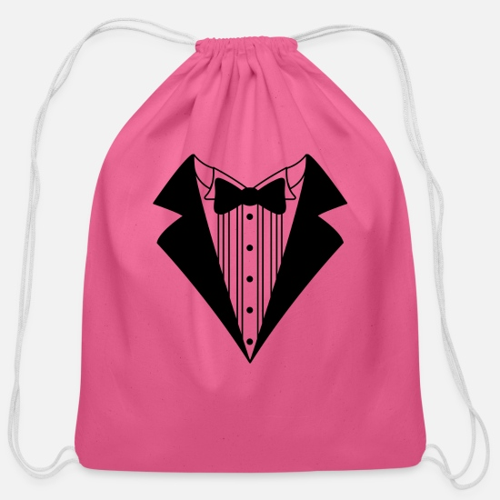 Tuxedo Bags & Backpacks - Groom tuxedo - Cotton Drawstring Bag pink
