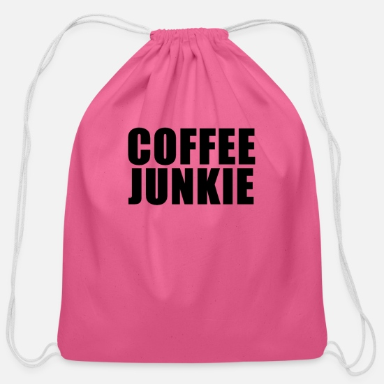 Coffee Bean Bags & Backpacks - Coffee junkie - Cotton Drawstring Bag pink