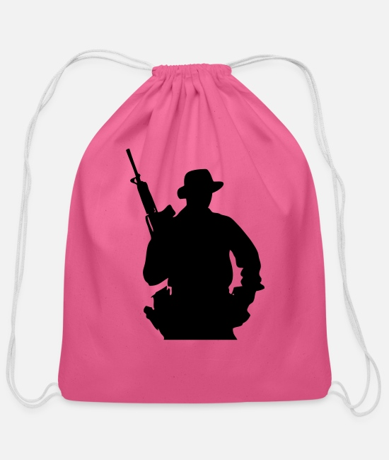 Jaws Bags & Backpacks - Army Ranger, Soldier, Mercenary - Cotton Drawstring Bag pink