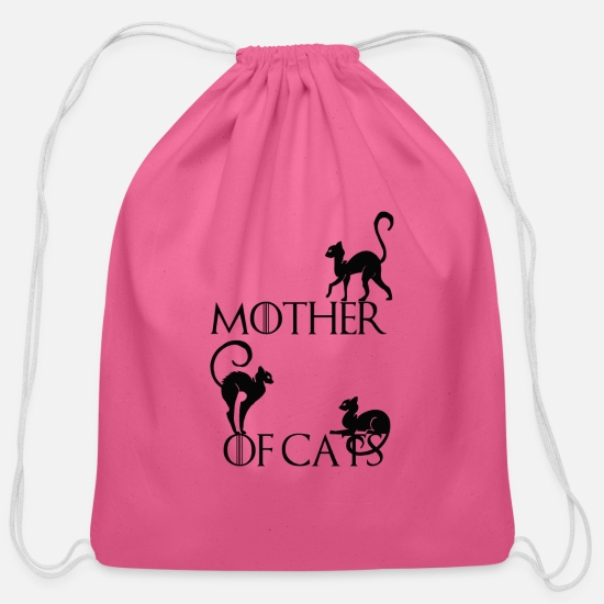 Mother's Day Bags & Backpacks - the mother cats - Cotton Drawstring Bag pink