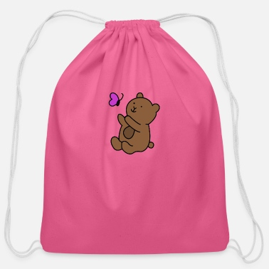 Butterflies And Bears Teddy Bear Butterfly - Cotton Drawstring Bag