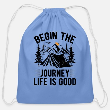 Text Begin The Journey bw - Cotton Drawstring Bag