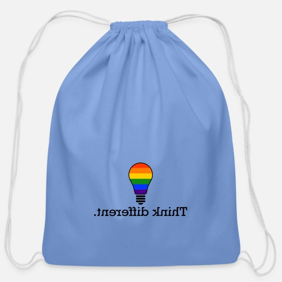 Think Bags & Backpacks - Think different LGBT Gay Pride CSD light bulb - Cotton Drawstring Bag carolina blue