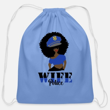 Wife Blue Police Wife With Afro - Cotton Drawstring Bag