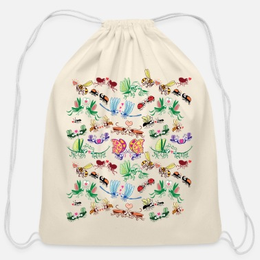 Conflict Funny insects falling in love in a pattern design - Cotton Drawstring Bag