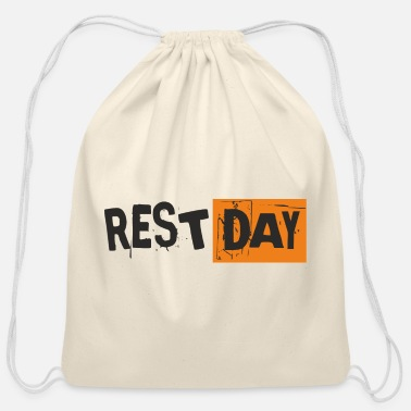 Laugh Saying - Rest Day - Cotton Drawstring Bag