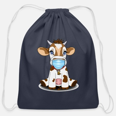 Cow Face mask cow - Cotton Drawstring Bag