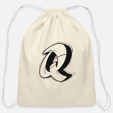 Graffiti Q Graffiti letters initial alphabet gift - Cotton Drawstring Bag