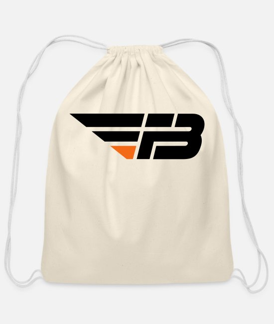 FBL Black & Orange (no Na Bags & Backpacks - FBL Black Orange no na - Cotton Drawstring Bag natural
