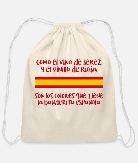 Wine Bags & Backpacks - Banderita Española - Cotton Drawstring Bag natural