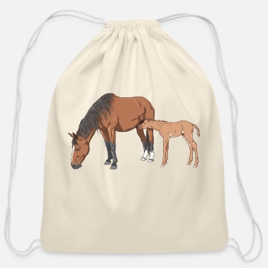Mare mare & foal - Cotton Drawstring Bag