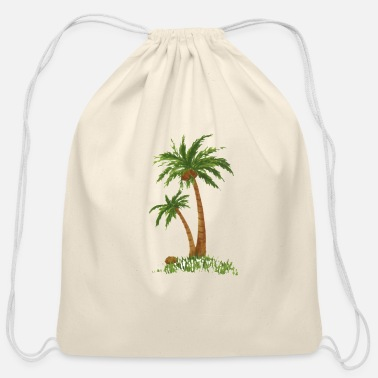 Tree Twin coconut palm trees - Cotton Drawstring Bag