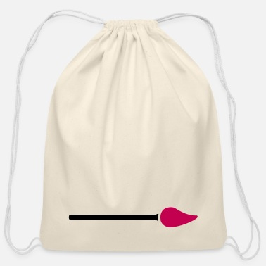 Paint Brush paint brush with paint - Cotton Drawstring Bag