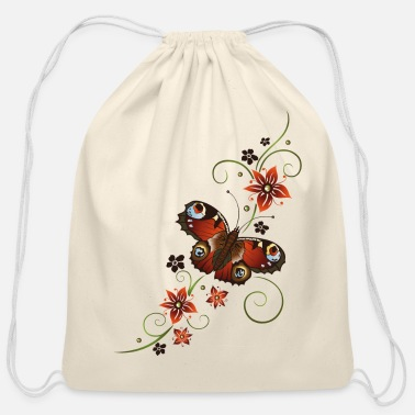 Red Black And Green Red, black and green flowers with peacock butterfl - Cotton Drawstring Bag