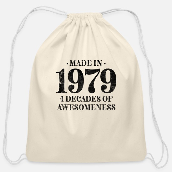 Birthday Bags & Backpacks - born 1979 classic men women - Cotton Drawstring Bag natural