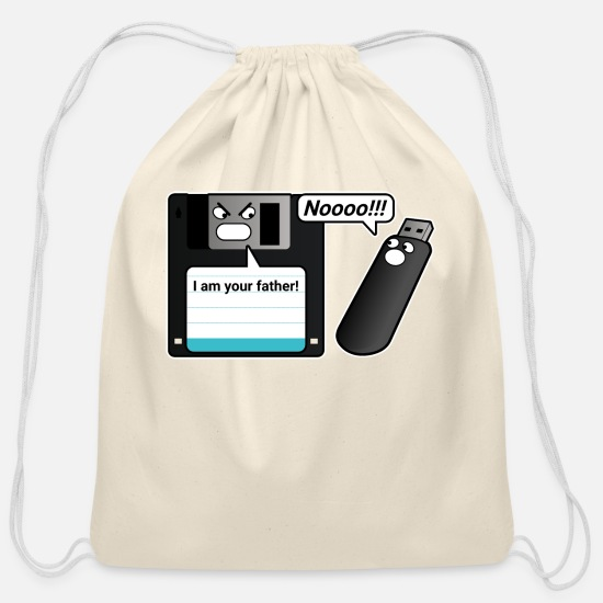 Coder Bags & Backpacks - Floppy Disk USB Flash Drive Joke - Cotton Drawstring Bag natural
